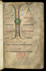 Illuminated Initial And Music, In A Troper And Gradual Of St. Albans Abbey